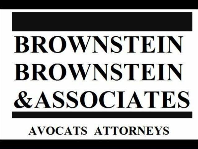 LA COMMERCIALISATIOND'UNE PRATIQUE DE NICHE       Présenté par       Me Herbert Brownstein       & Me Mitchell Brownstein