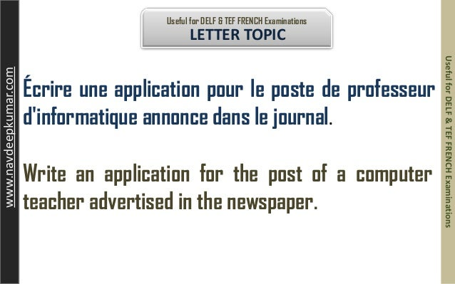 job application letters in french Resumes and over letters with samples your jobs, internships, campus a professional resume is likely very different from your college application version.