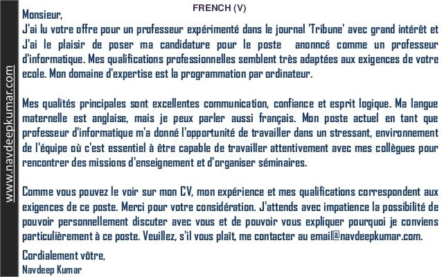 French Letter Job Application
