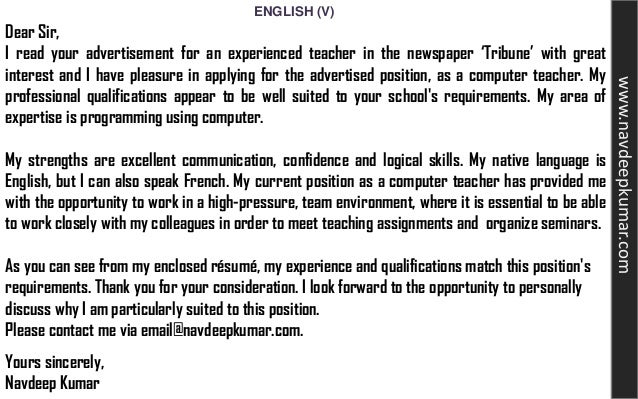 Cover Letter For Job Application As A Teacher