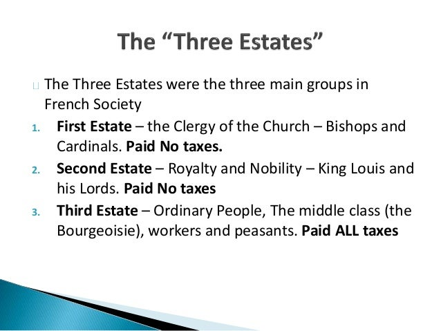 The Three Estates were the French Revolution Estates System