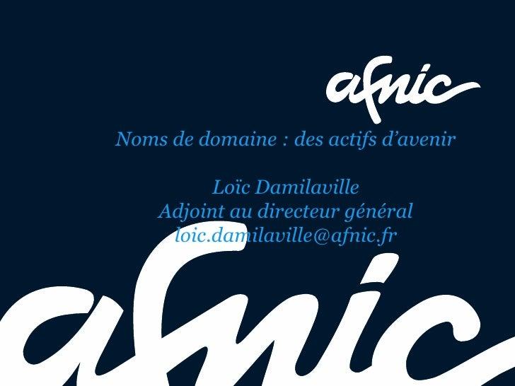 Noms de domaine : des actifs d'avenir          Loïc Damilaville    Adjoint au directeur général     loic.damilaville@afnic...