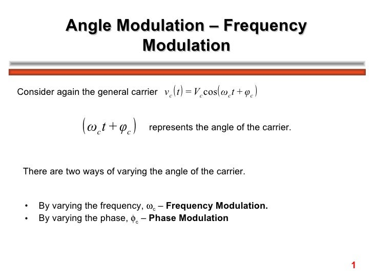 Angle Modulation – Frequency                     ModulationConsider again the general carrier vc ( t ) = Vc cos( ωc t + φc...