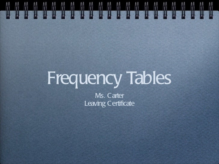 Frequency Tables <ul><li>Ms. Carter </li></ul><ul><li>Leaving Certificate </li></ul>