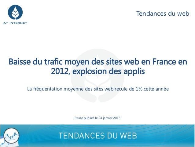 Tendances du webBaisse du trafic moyen des sites web en France en            2012, explosion des applis     La fréquentati...