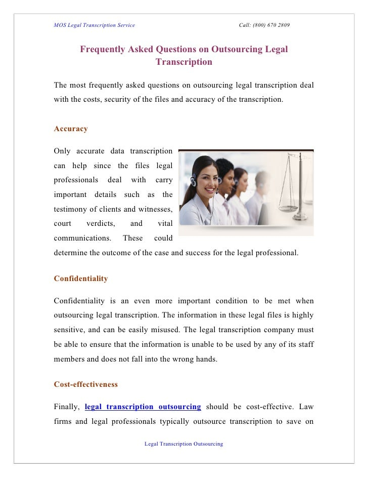 Frequently asked questions on outsourcing legal transcription