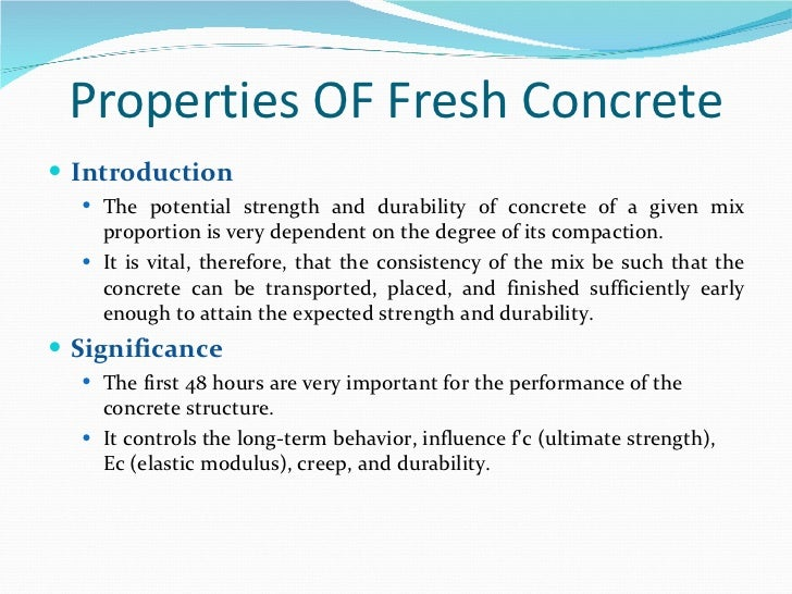 Properties Of Concrete : Fresh concrete properties its standard tests
