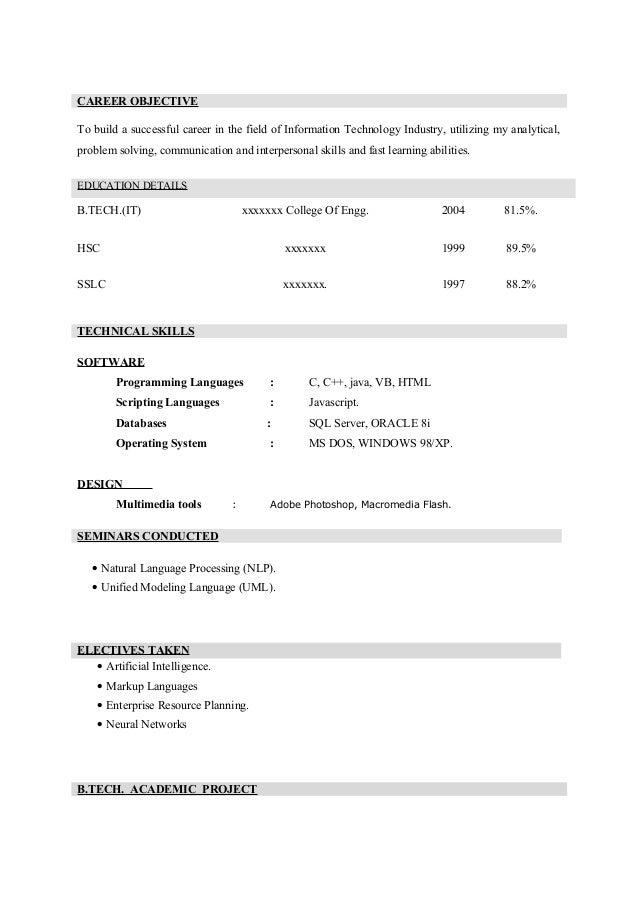 resume format blank resume format for freshers
