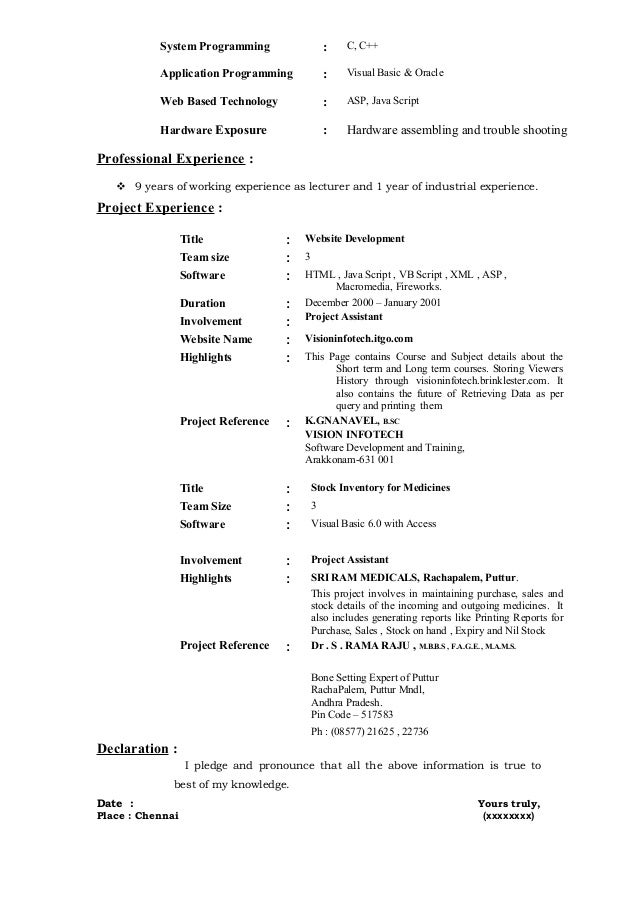 fresher resume sle6 by babasab patil