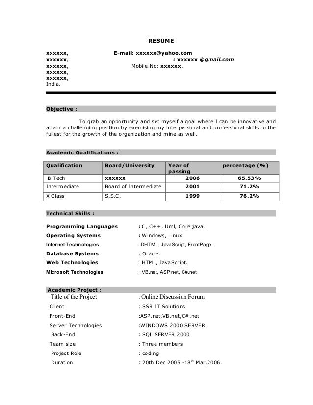 resume writing examples for freshers