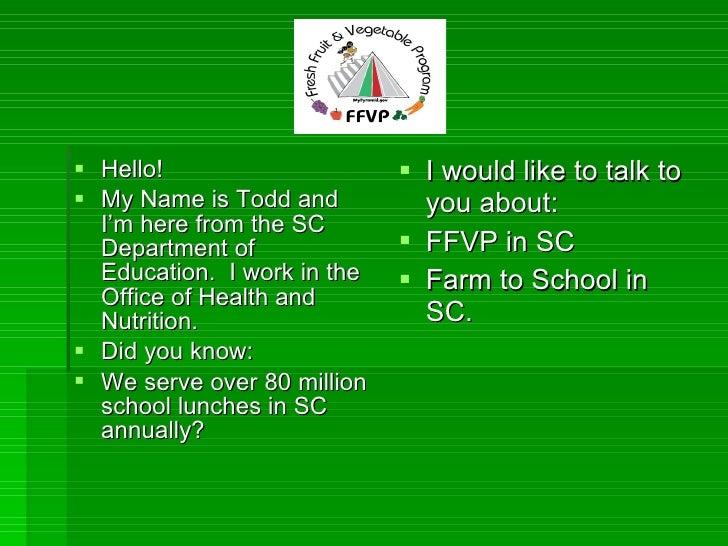 Fresh Fruit & Vegetable Program @ SC Dept. of Education
