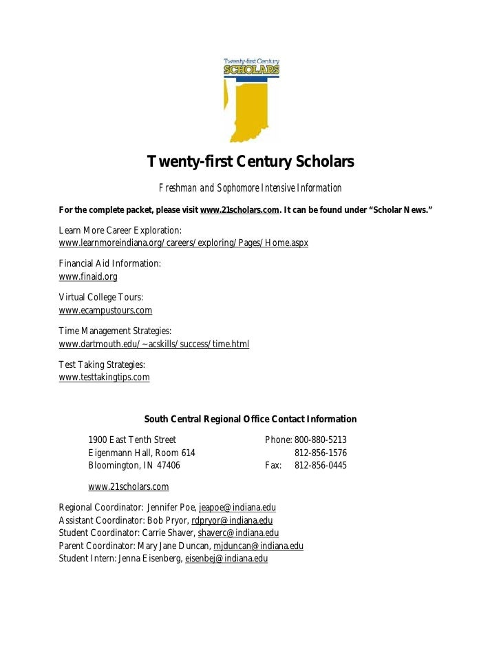 Twenty-first Century Scholars                           Freshman and Sophomore Intensive Information For the complete pack...