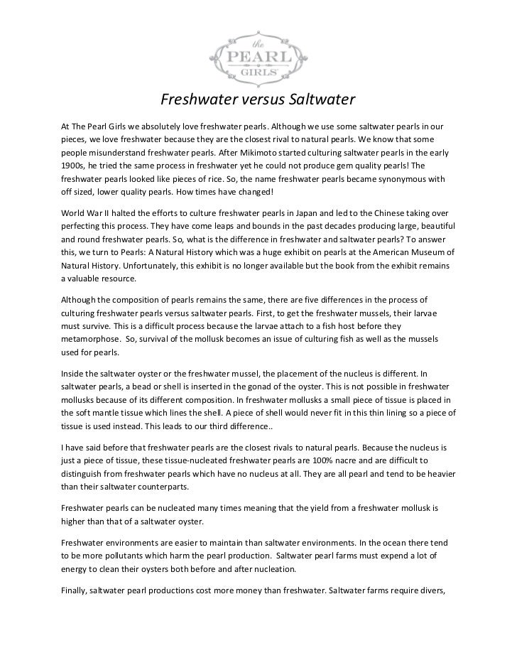 Freshwater versus SaltwaterAt The Pearl Girls we absolutely love freshwater pearls. Although we use some saltwater pearls ...