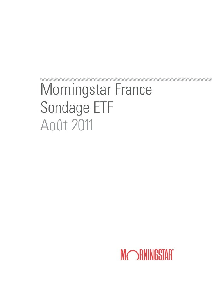 Morningstar FranceSondage ETFAoût 2011