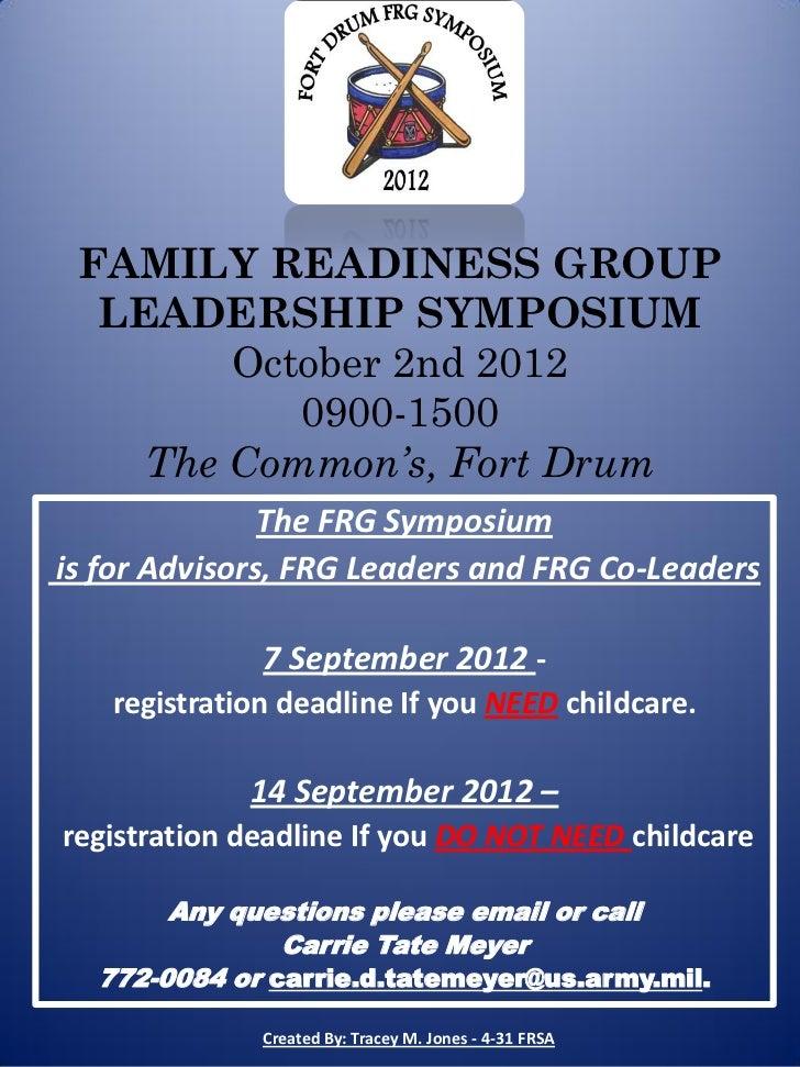 Fort Drum FRG Symposium