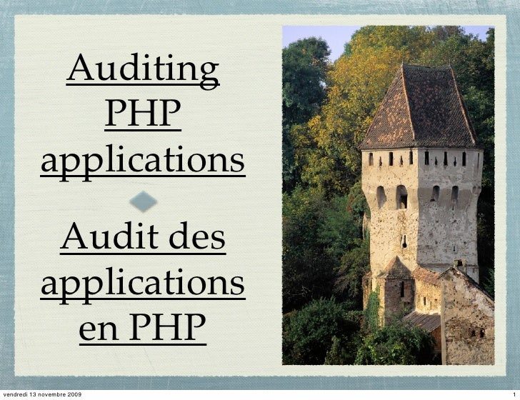 Auditing               PHP            applications              Audit des            applications              en PHP vend...