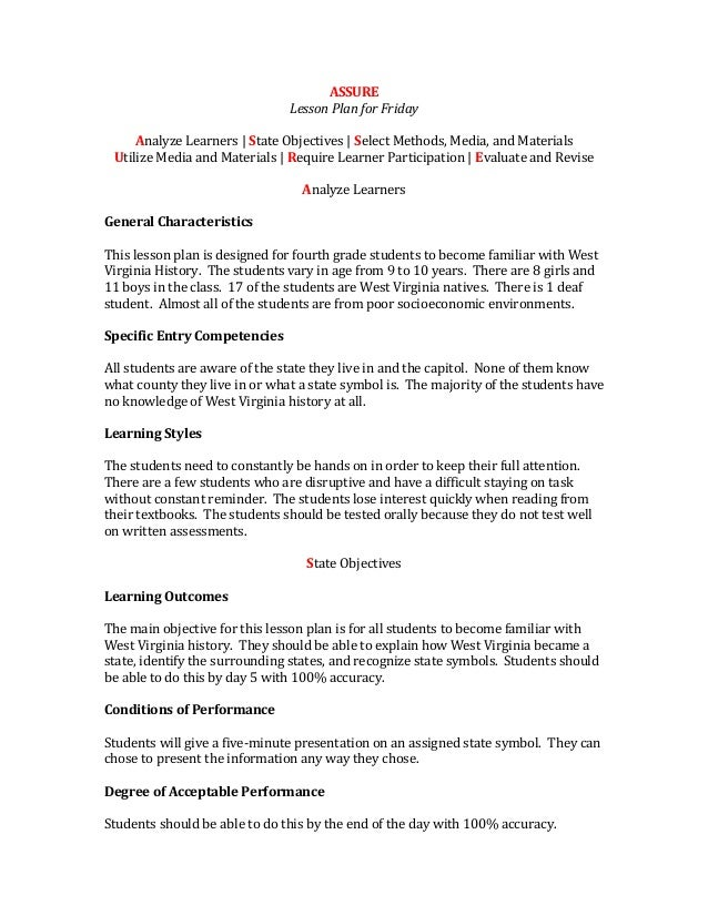 ASSURELesson Plan for FridayAnalyze Learners | State Objectives | Select Methods, Media, and MaterialsUtilize Media and Ma...