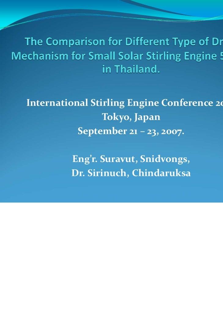 InternationalStirling EngineConference2007                 Tokyo,Japan           September21– 23,2007.         Eng'...