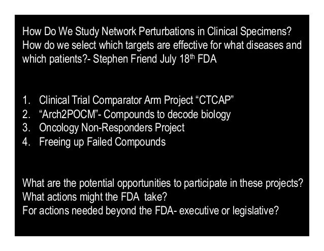 How Do We Study Network Perturbations in Clinical Specimens?How do we select which targets are effective for what diseases...