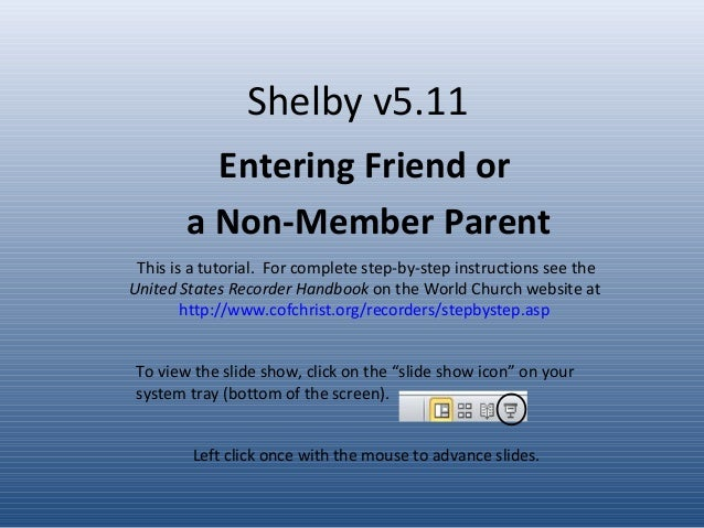 Tutorial - Friend or Non-member Parent