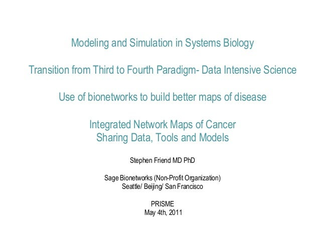 Modeling and Simulation in Systems BiologyTransition from Third to Fourth Paradigm- Data Intensive Science       Use of bi...