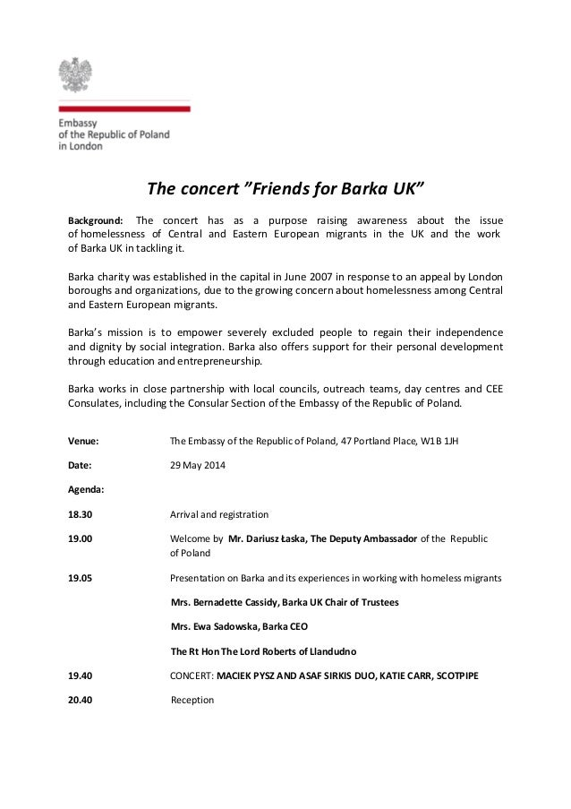"""The concert """"Friends for Barka UK"""" Background: The concert has as a purpose raising awareness about the issue of homelessn..."""