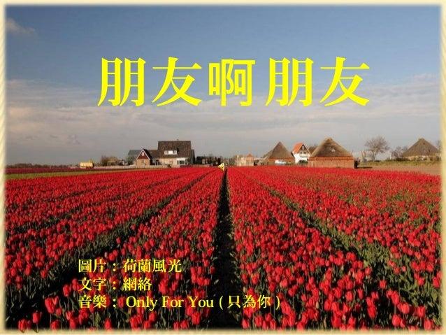 Peng 朋友啊朋友 朋友 朋友啊 圖片:荷蘭風光 文字:網絡 音樂: Only For You ( 只為你 )