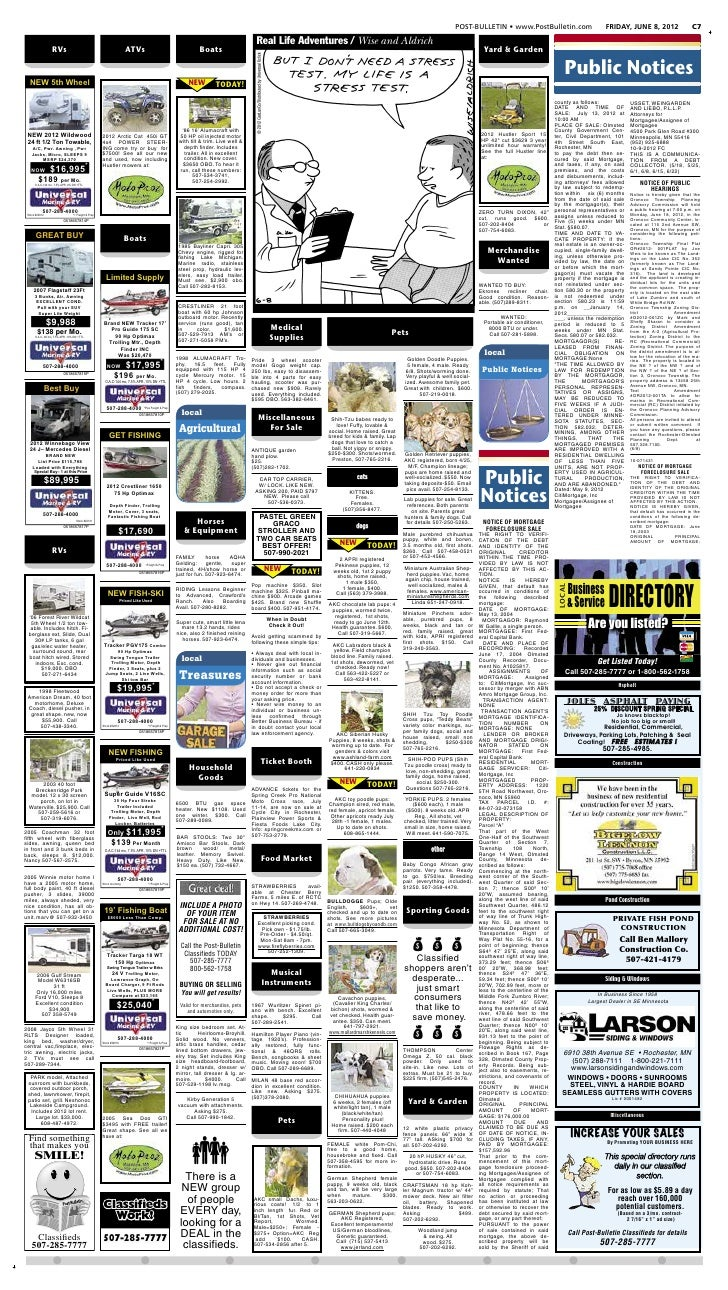Public notices for June 8, 2012
