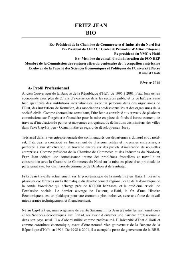 Haiti curriculum vitae fritz jean for Chambre de commerce d haiti