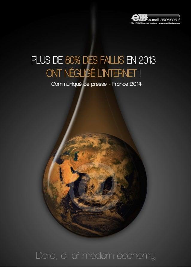 PLUS DE 80% DES FAILLIS EN 2013  ONT NÉGLIGÉ L'INTERNET !  Communiqué de presse -- FFrraannccee 22001144  @  Data, oil of ...