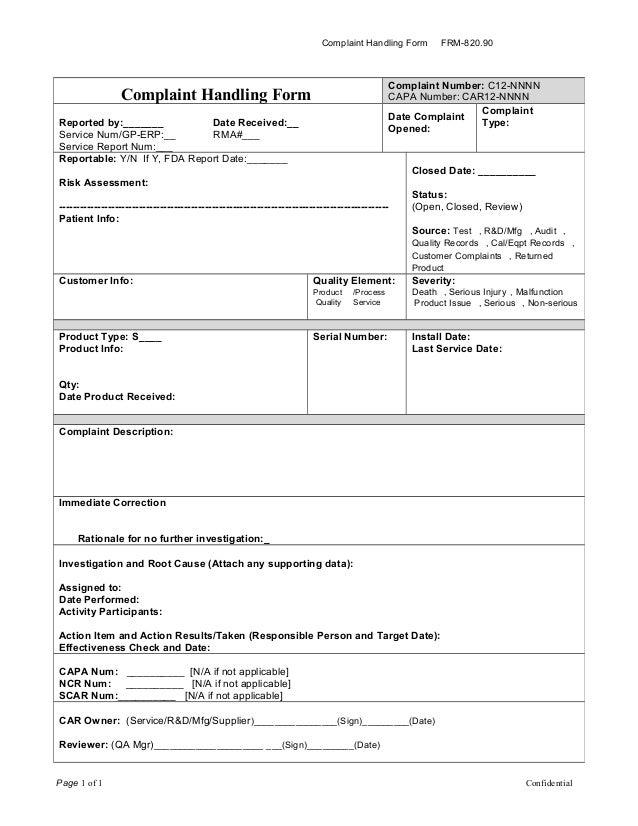 Frm 820 90 Complaint Form Cdb 7 9 2013 Rev 1