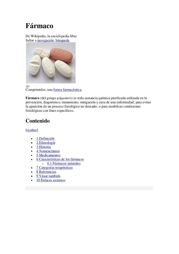 Fármaco<br />De Wikipedia, la enciclopedia libre<br />Saltar a navegación, búsqueda <br />Comprimidos, una forma farmacéut...