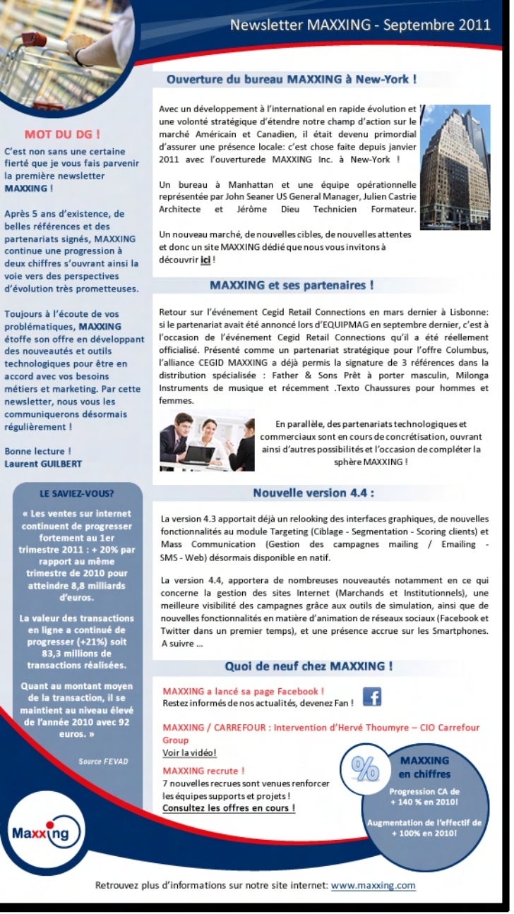 Newletters MAXXING n°1 septembre 2011