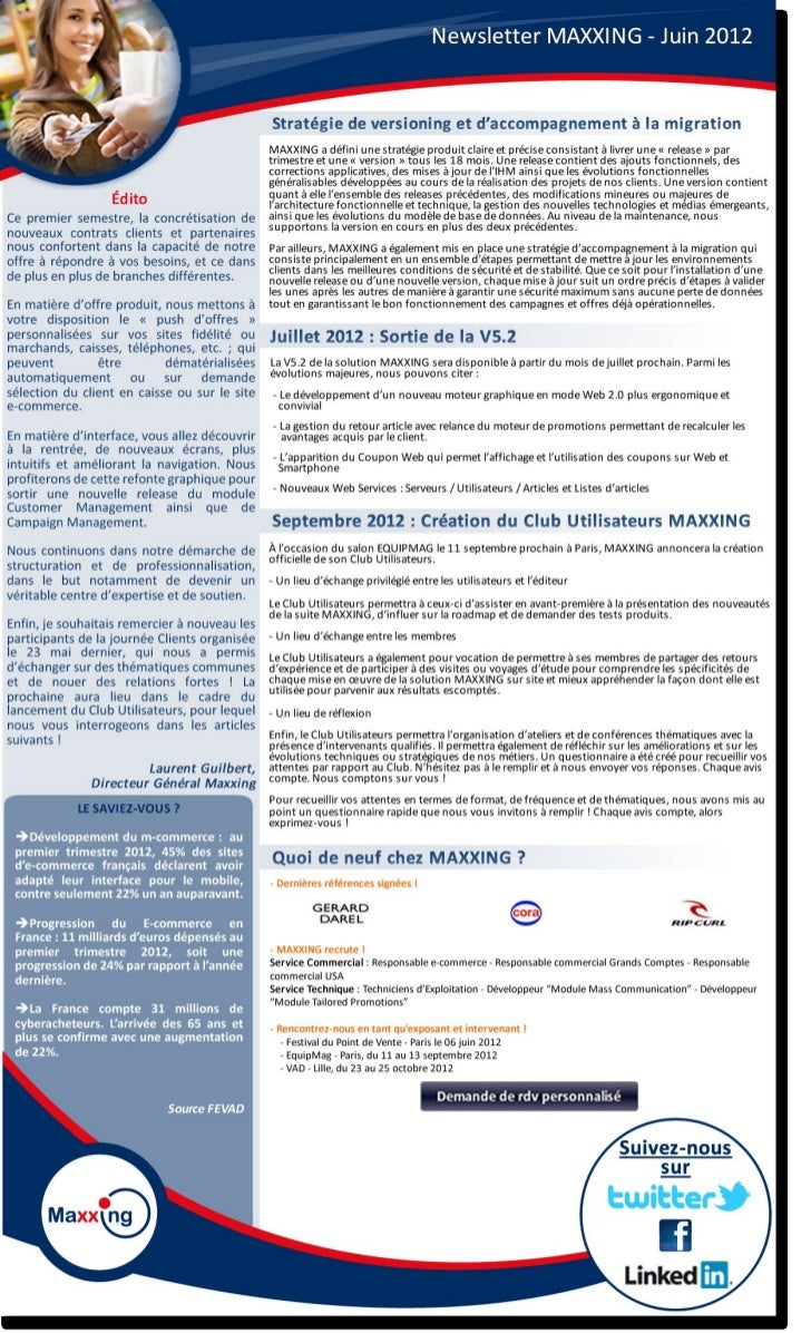 Newsletter MAXXING - Juin 2012                                                    Stratégie de versioning et d'accompagnem...