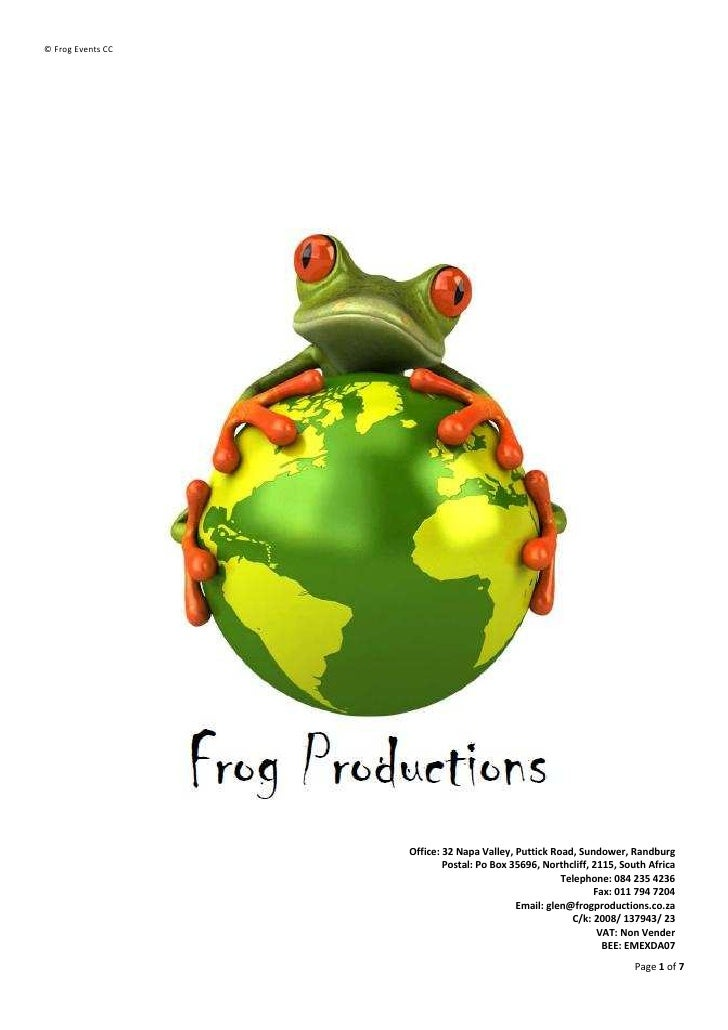 Frog Productions   Company Profile (Up To March 2010)