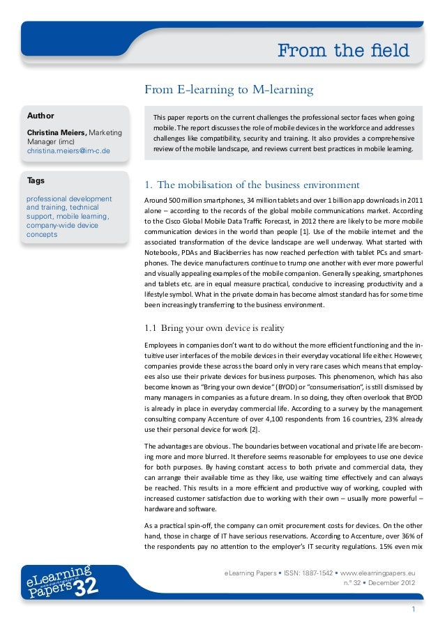 From the field                              From E-learning to M-learningAuthor                          This paper report...