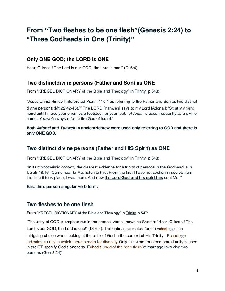 """From """"Two fleshes to be one flesh""""(Genesis 2:24) to""""Three Godheads in One (Trinity)""""Only ONE GOD; the LORD is ONEHear, O I..."""