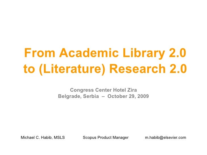 From Academic Library 2.0  to (Literature) Research 2.0