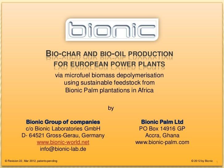 BIO-CHAR FOR EUROPEAN POWER-PLANTS                               BIO-CHAR AND BIO-OIL PRODUCTION                          ...