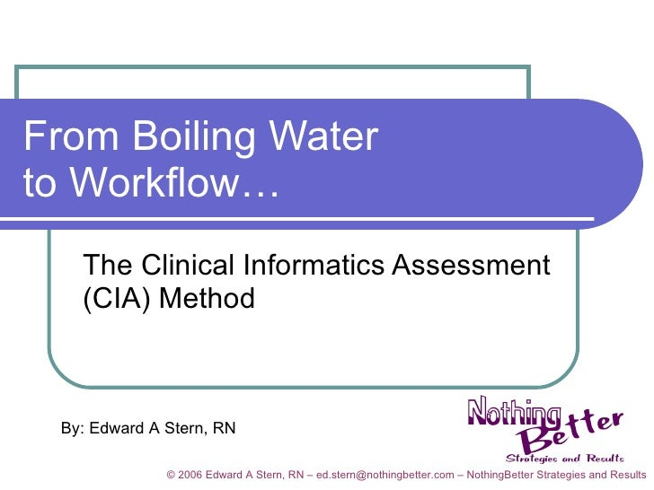 From Boiling Water to Workflow… The Clinical Informatics Assessment (CIA) Method By: Edward A Stern, RN