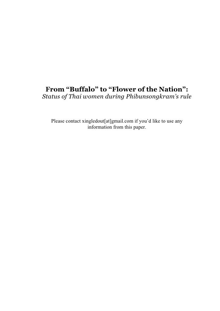 """From """"Buffalo"""" to """"Flower of the Nation"""":Status of Thai women during Phibunsongkram's rule  Please contact xingledout[at]g..."""