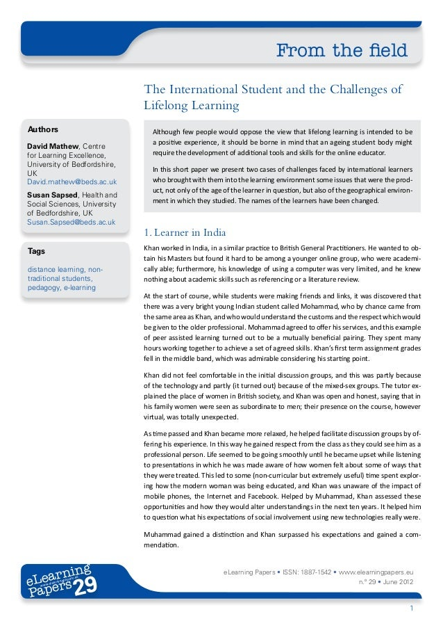 The International Student and the Challenges of Lifelong Learning