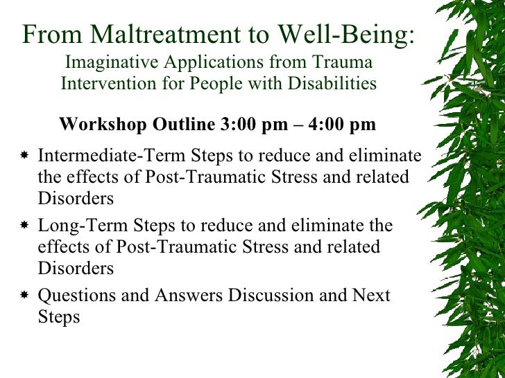 From Maltreatment to Well-Being:   Imaginative Applications from Trauma Intervention for People with Disabilities Intermed...