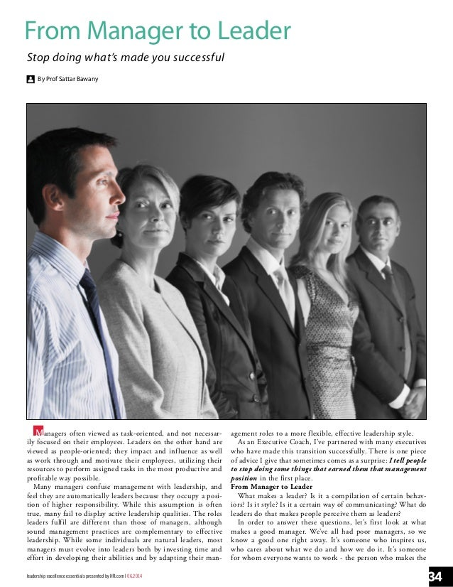 From Manager to Leader in Leadership Excellence Leadership Excellence_June_2014 Issue