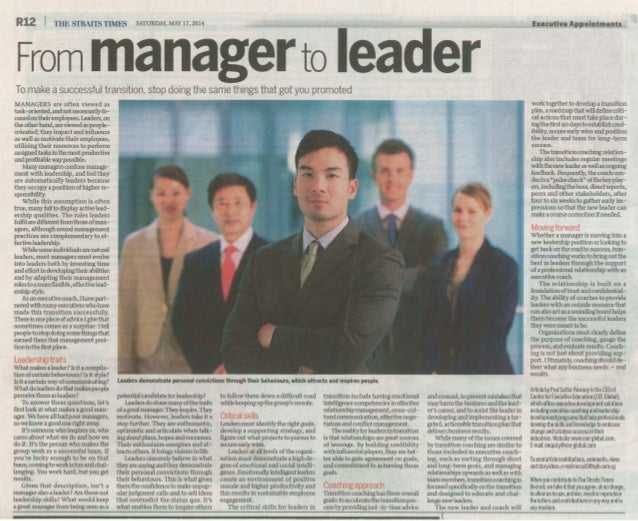 From Manager to Leader ST Recruit 17 May 2014