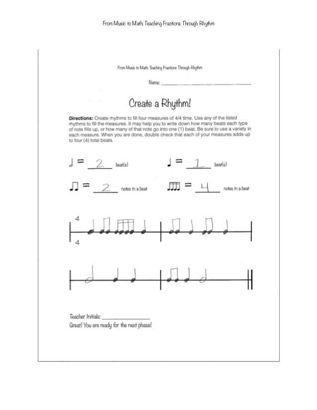math worksheet : from music to math teaching fractions through rhythm to fourth graders : Rhythm Math Worksheets