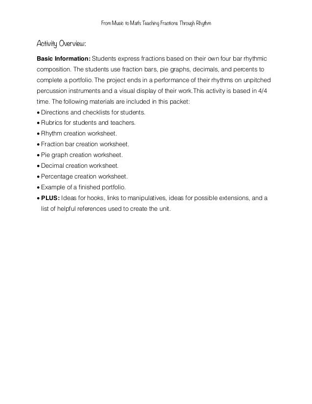 Math Connections Worksheets : Music and math connection worksheets from to