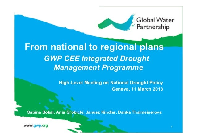 From National to Regional Plans, presentation by Sabina Bokal, project manager of a Integrated Drought Management Project (IDMP) for the GWP Central and Eastern Europe