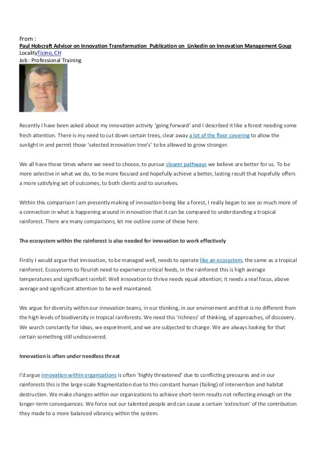 From : Paul Hobcraft Advisor on Innovation Transformation Publication on Linkedin on Innovation Management Goup LocalityTi...
