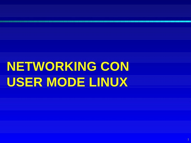 NETWORKING CON USER MODE LINUX                      1